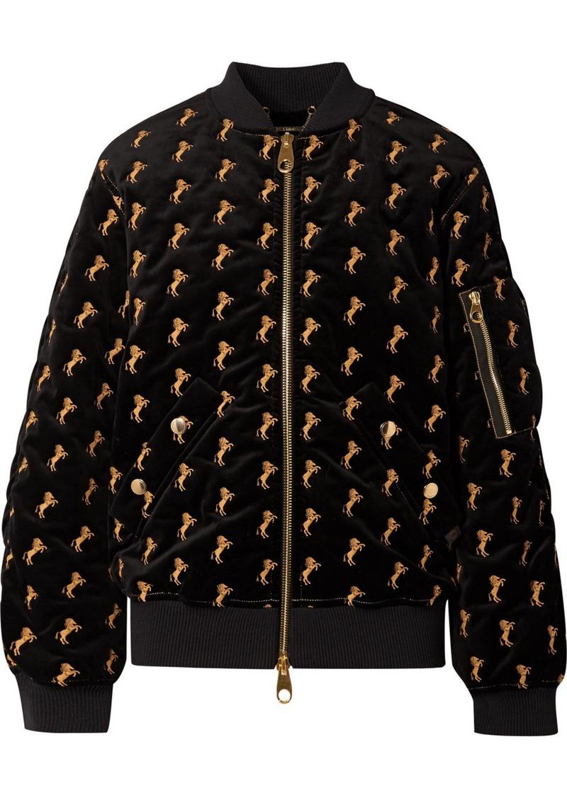 Chloé Embroidered Cotton-blend Velvet Bomber Jacket