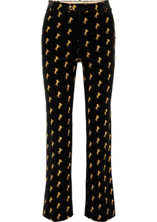 Chloé Embroidered Cotton-blend Velvet Straight-leg Pants