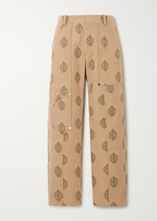 Chloé Embroidered Cotton-gabardine Cargo Pants