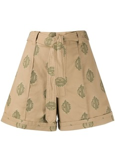 Chloé embroidered logo belted shorts