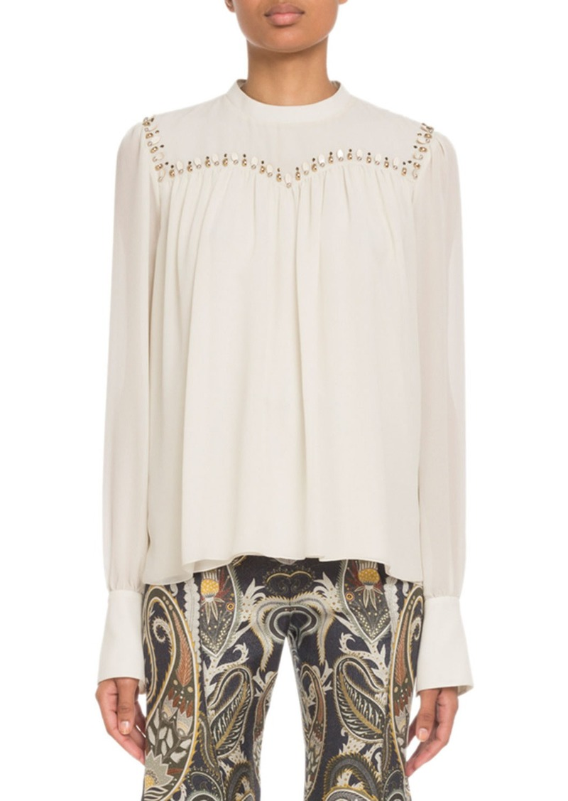 Chloé Embroidered Long-Sleeve Silk Top