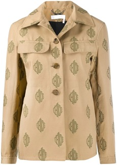 Chloé embroidered multi-logo shirt jacket