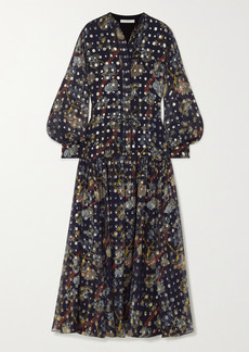 Chloé Embroidered Printed Silk-georgette Maxi Dress