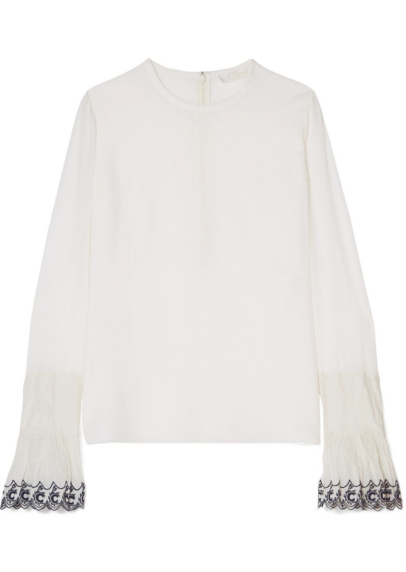 Chloé Embroidered Silk Crepe De Chine Blouse