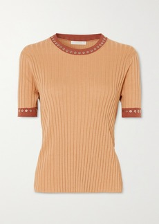 Chloé Eyelet-embellished Ribbed Silk And Cotton-blend Top