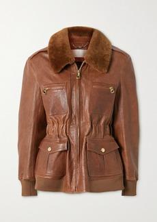 Chloé Faux Fur-trimmed Leather Jacket