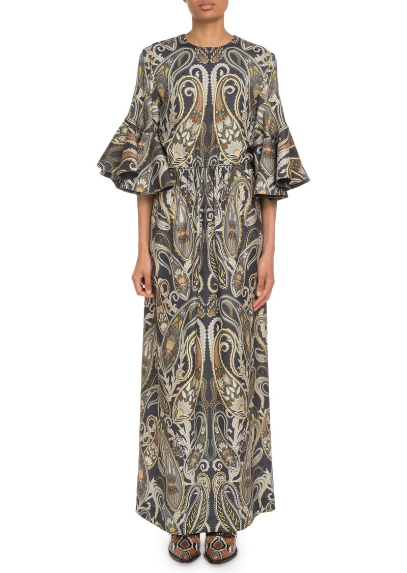 Chloé Flare-Sleeve Paisley Maxi Dress