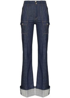 Chloé rolled-cuff flared jeans