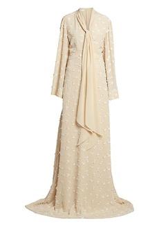 Chloé Floral Appliqué Flutter-Sleeve Silk Gown