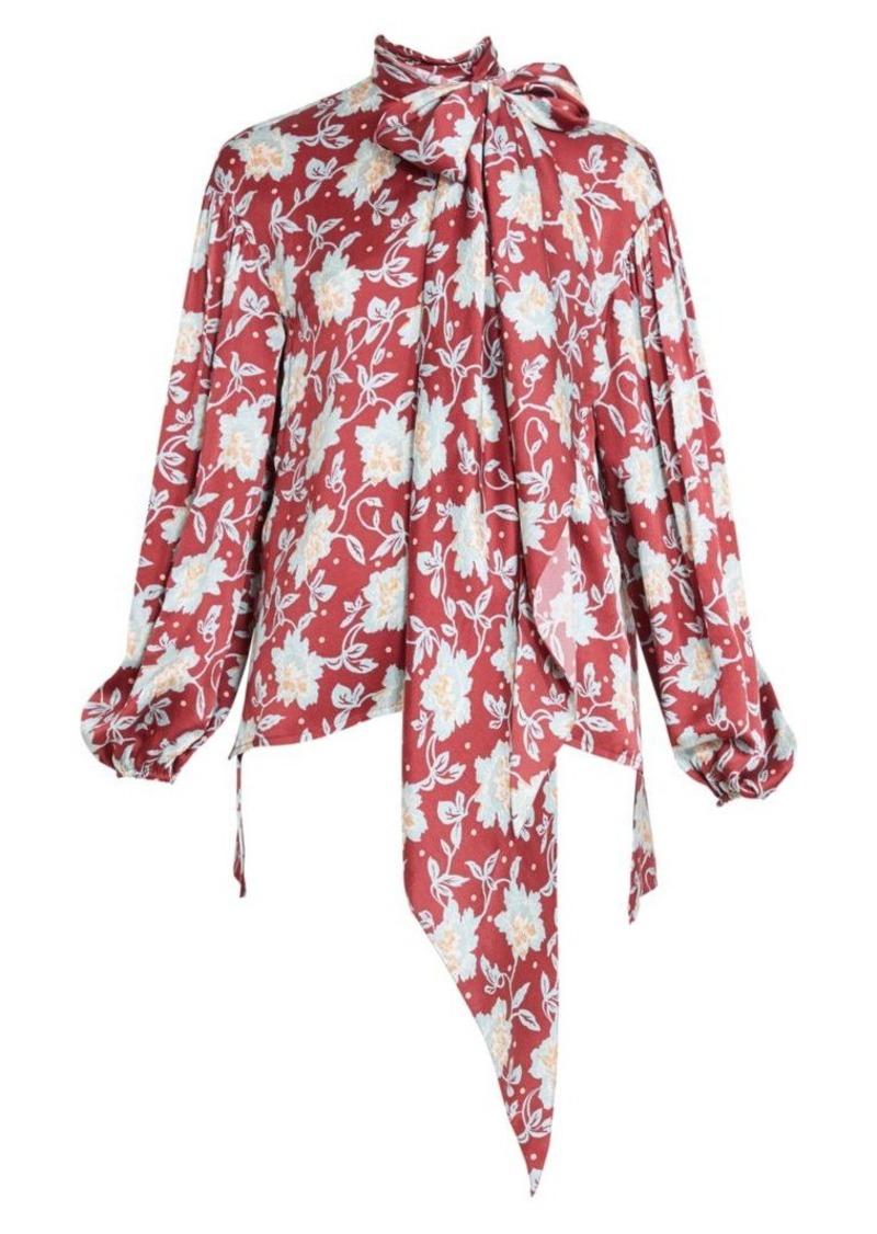 Chloé Floral Print Tieneck Silk Blouse