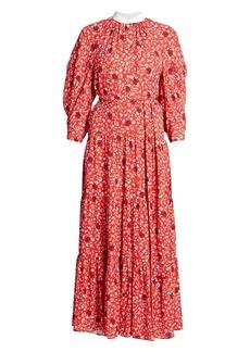 Chloé Flower Printed Crepe Maxi Dress