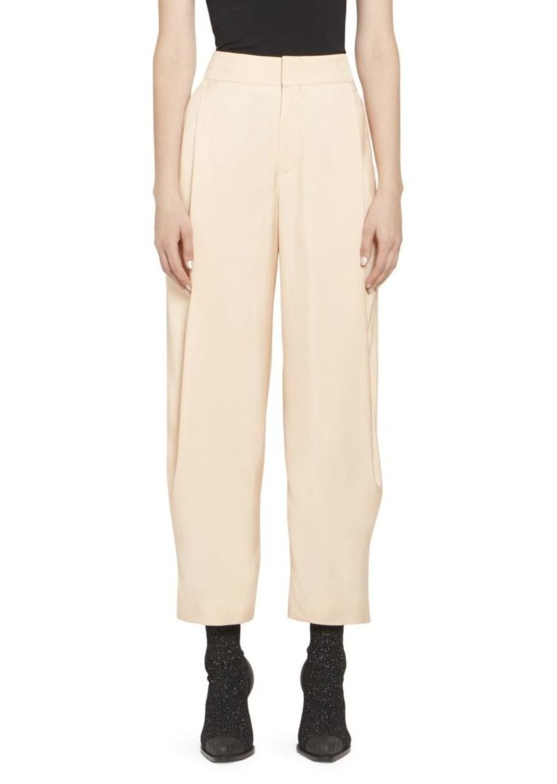 Chloé Fluid Twill Pleat Front Soft Trousers