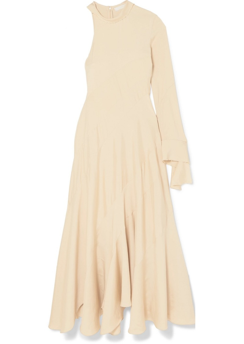 Chloé Frayed One-sleeve Satin Maxi Dress