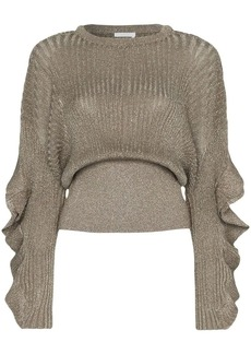Chloé frill sleeve lurex silk blend top