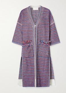 Chloé Fringed Striped Tweed Coat