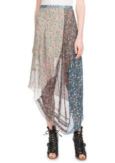 Chloé Garden-Print Asymmetric-Hem Mid-Calf Georgette Skirt