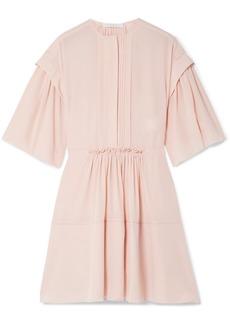 Chloé Gathered Pleated Silk-crepe Mini Dress