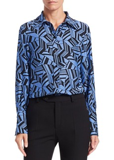 Chloé Geometric-Print Long-Sleeve Silk Button-Down Blouse