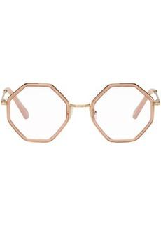 Chloé Gold & Pink Hexagon Glasses
