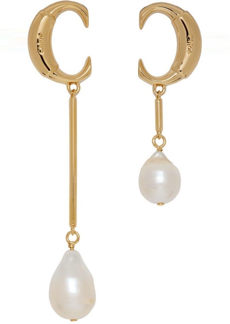 Gold 'Chloé C' Pearl Earrings