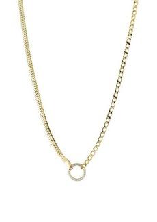 Chloé Gold Vermeil & Cubic Zirconia Hoop Pendant Chain Choker Necklace