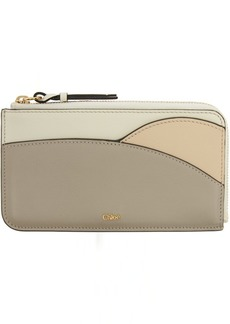 Chloé Grey & Taupe Walden Zip Card Holder