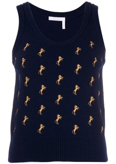 Chloé horse embroidered sweater vest
