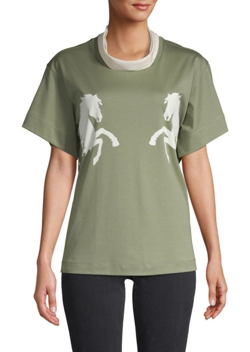 Chloé Horse Graphic Cotton-Blend Tee