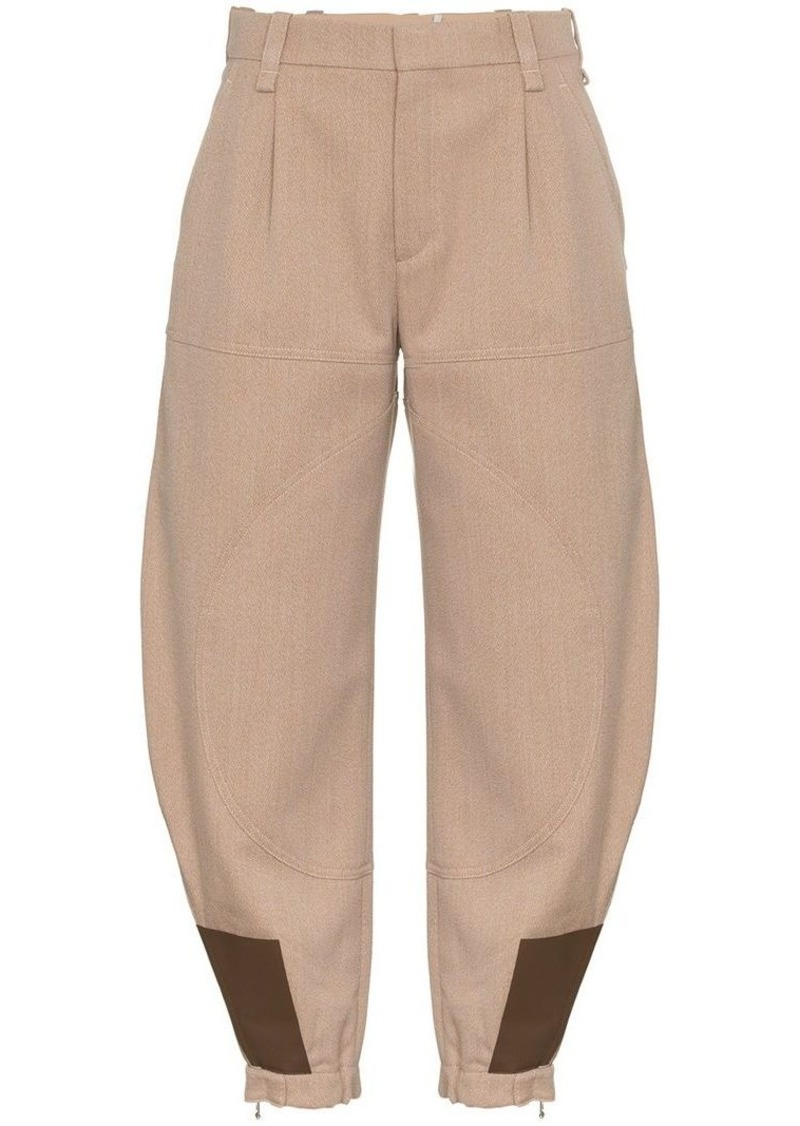 Chloé Jodhpur wool and leather cropped trousers