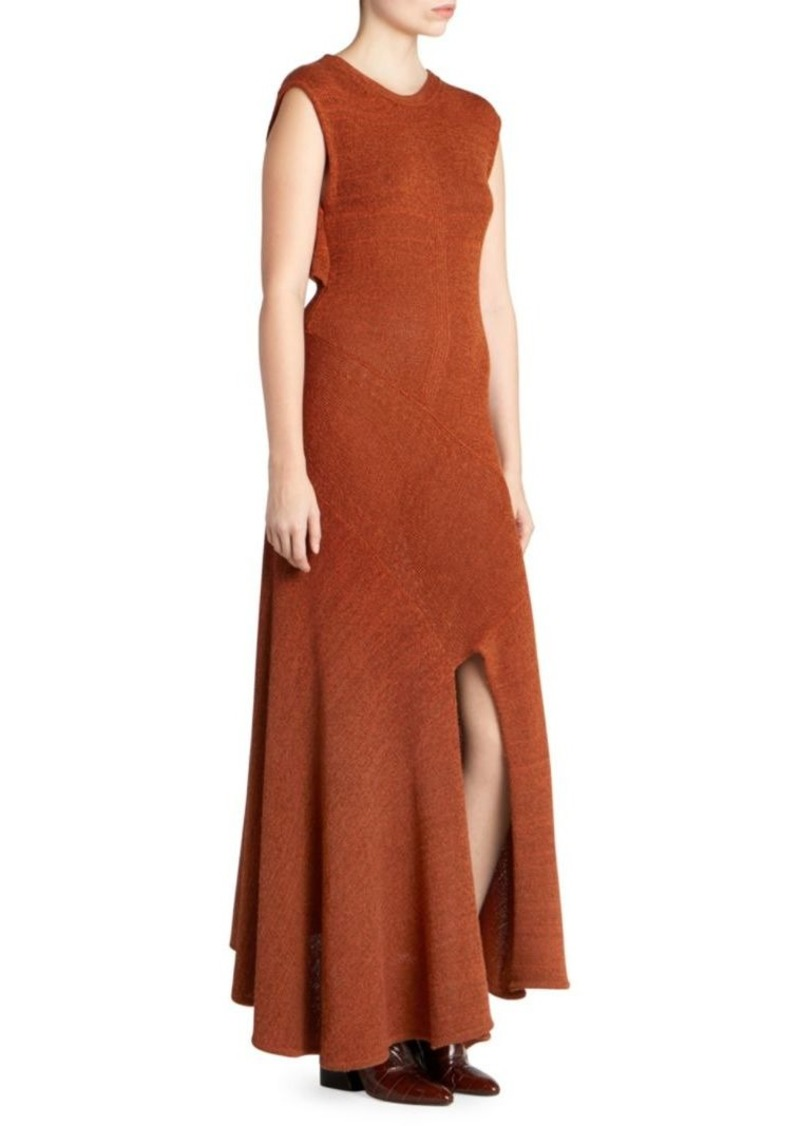 Chloé Knit Shawl-Back Slit Maxi Dress