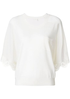 Chloé lace-hem knitted top