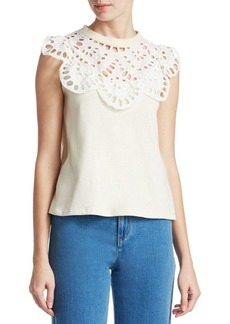See by Chloé Lace Neck Tank Top