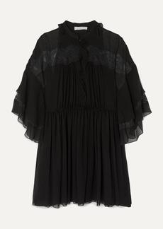 Chloé Lace-paneled Ruffled Plissé-silk Georgette Mini Dress