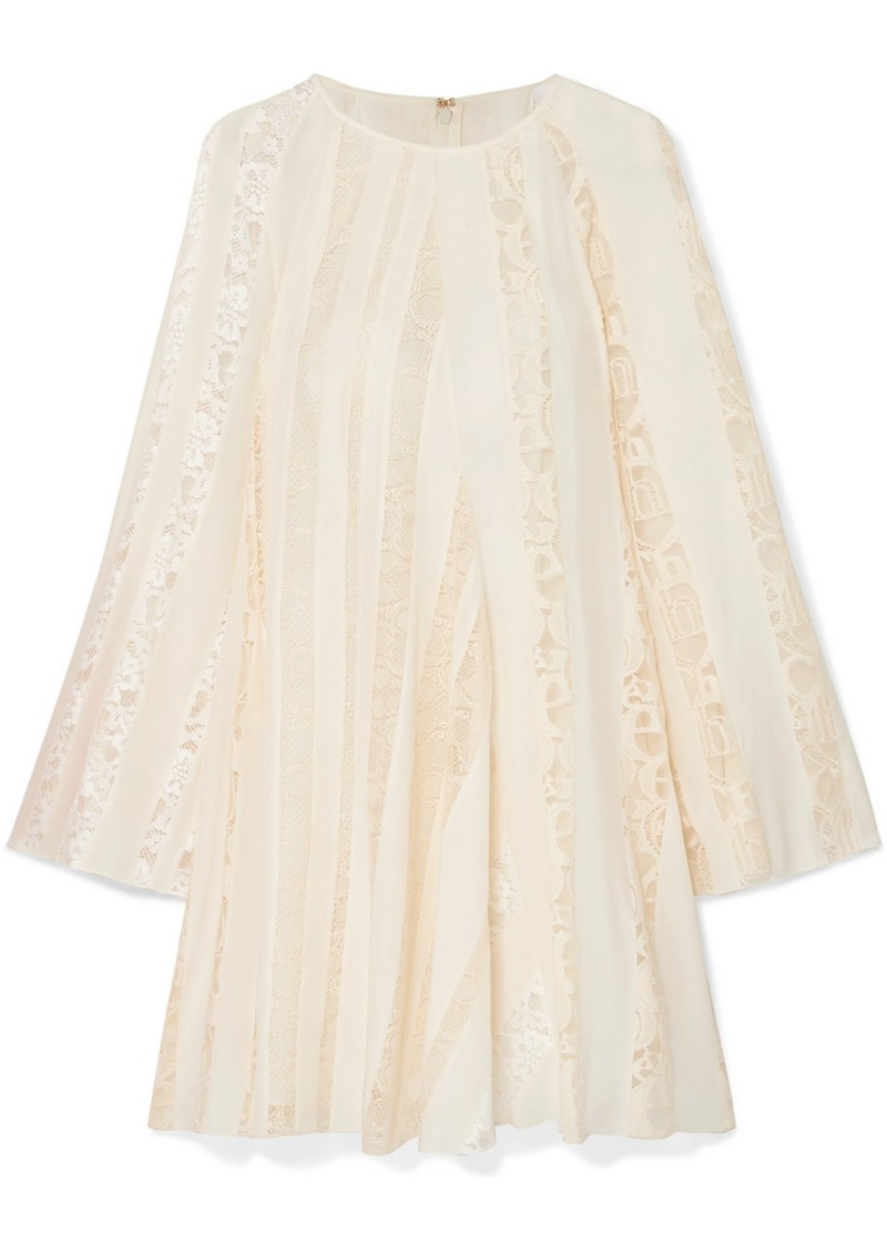 Chloé Lace-paneled Silk-chiffon Mini Dress