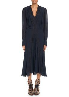 Chloé Lace-Trimmed V-Neck Georgette Midi Dress