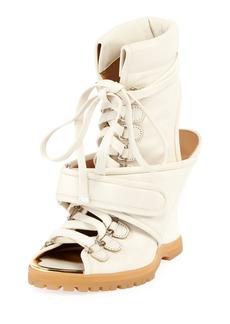 Chloé Lace-Up Wedge Bootie Sandal