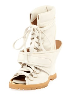 Chloé Lace-Up Wedge Bootie Sandal