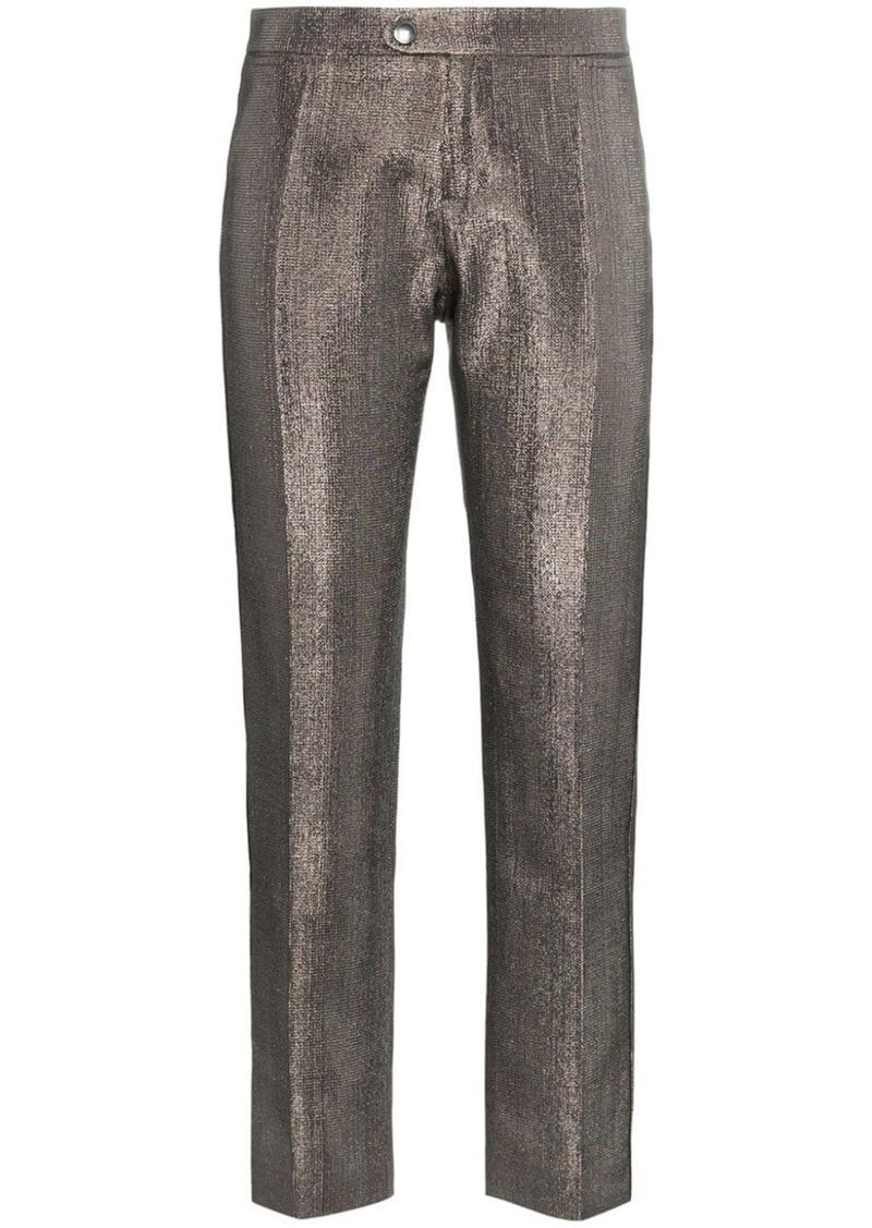 lame metallic cotton blend trousers