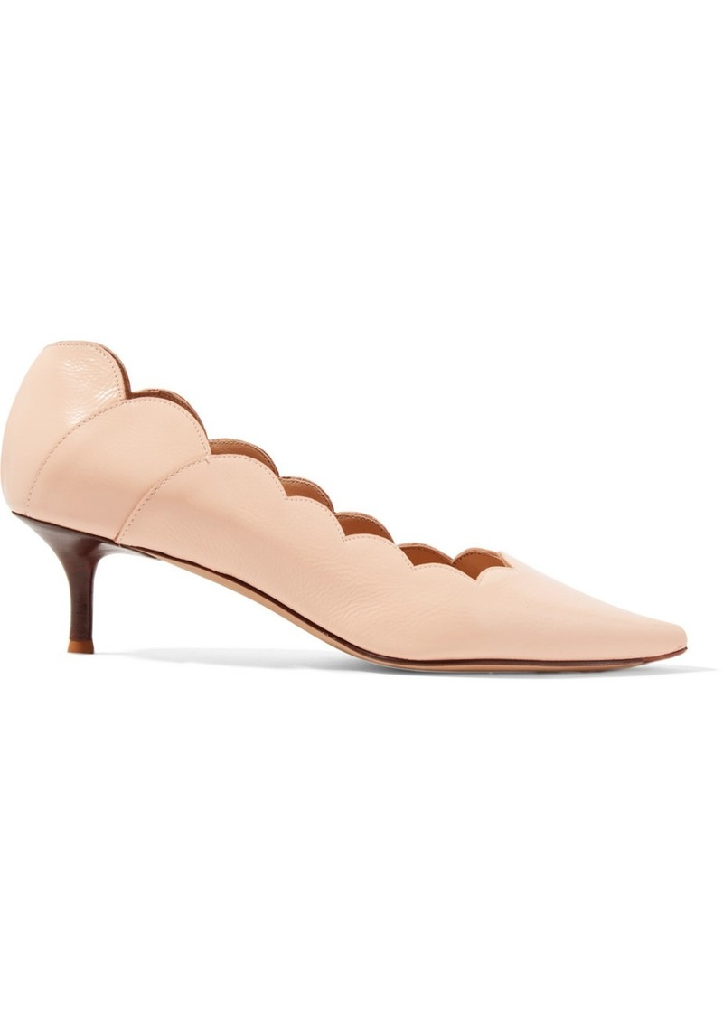 Chloé Lauren Scalloped Glossed-leather Pumps