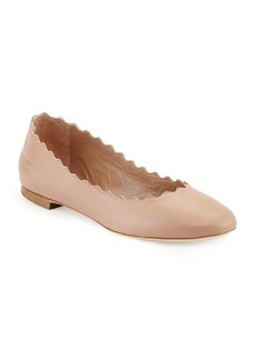 Chloé Lauren Scalloped Leather Ballet Flats  Light Pink