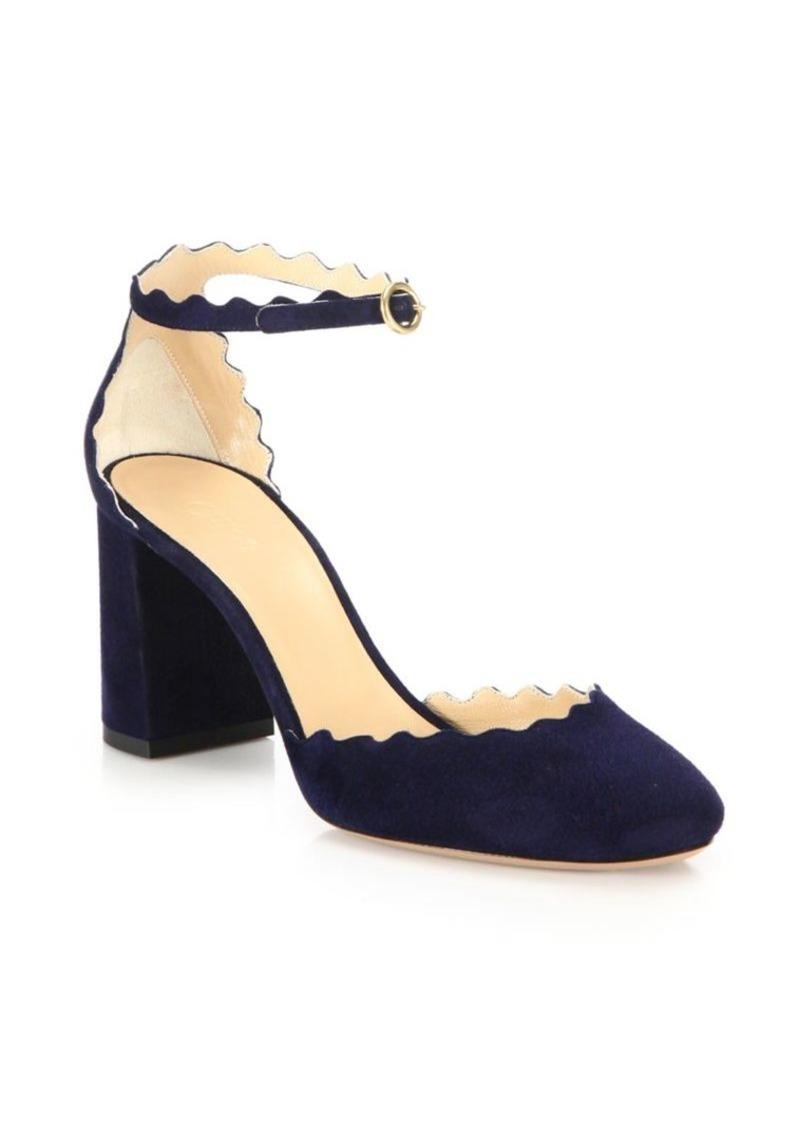 c8b366f6fc36 Chloé Lauren Scalloped Suede d Orsay Block Heel Pumps