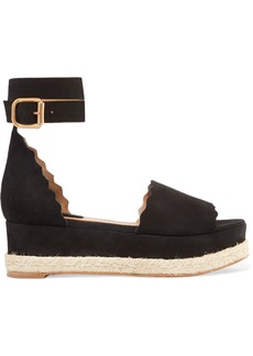 Chloé Lauren Scalloped Suede Espadrille Platform Sandals