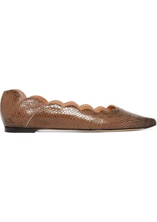 Chloé Lauren Scalloped Snake-effect Leather Point-toe Flats