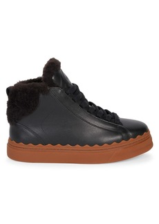 Chloé Lauren Shearling-Lined Leather Sneakers