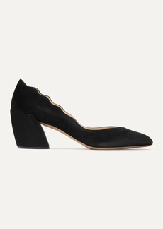 Chloé Laurena Scalloped Suede Pumps
