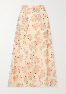 Chloé Layered Floral-print Silk-chiffon Midi Skirt
