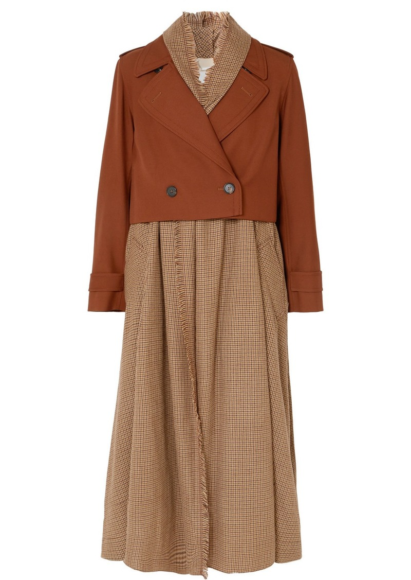 Chloé Layered Houndstooth Wool Trench Coat
