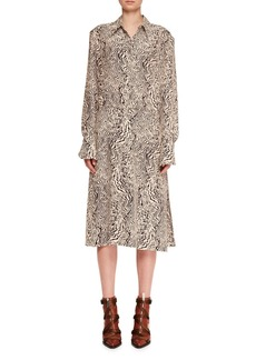 Chloé Long-Sleeve Button-Down Wave-Print Silk Crepe Shirtdress