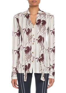 Chloé Long-Sleeve Button-Front Horse-Print Viscose Jersey Blouse