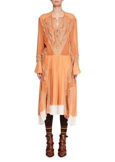 Chloé Long-Sleeve Silk Mousseline Lace-Inset A-Line Dress
